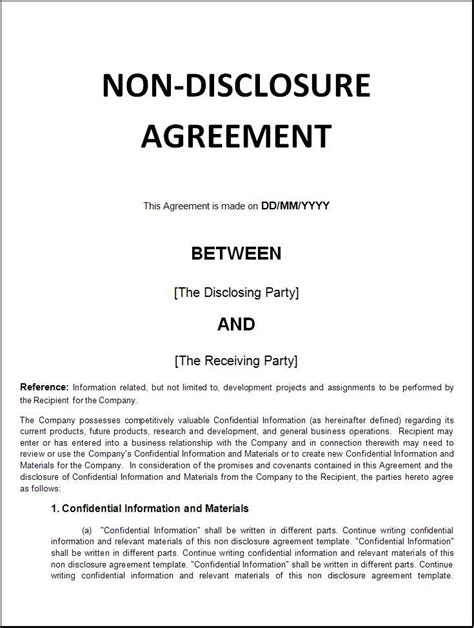 printable sample  disclosure agreement sample form