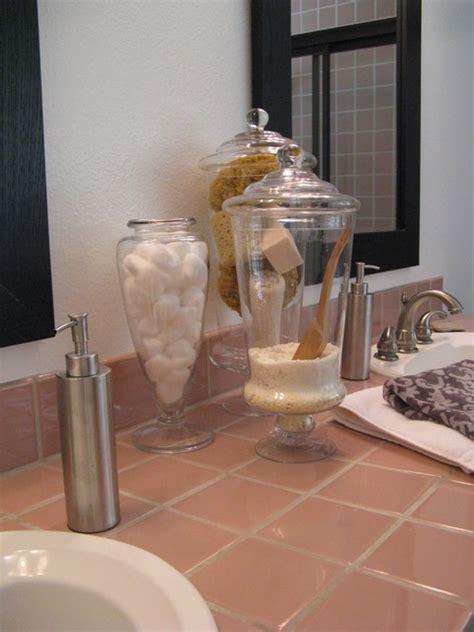 apothecary jars  bathroom display eclectic los