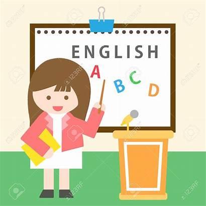 Teacher English Clipart Class Painting Standing 1300