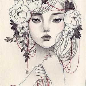 Tumblr Girl Drawing Flower Crown Flower Crown Drawing ...