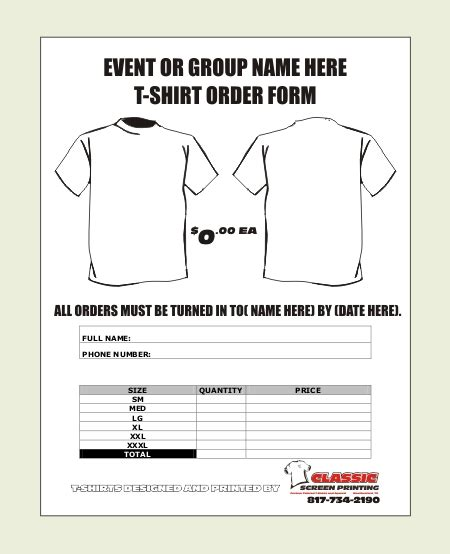 T Shirt Order Form Template Order Shirts Custom Shirt