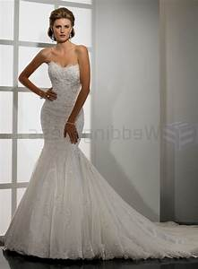 strapless sweetheart neckline beaded lace mermaid wedding With beaded lace wedding dress