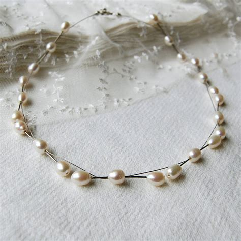 freshwater pearl and wire necklace by highland angel