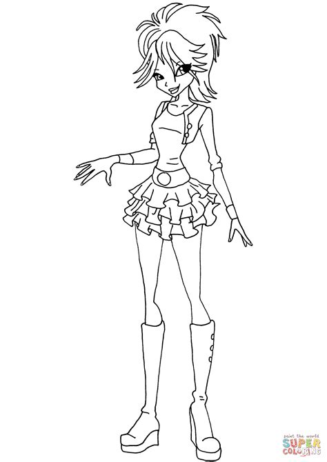 winx club young selina coloring page  printable