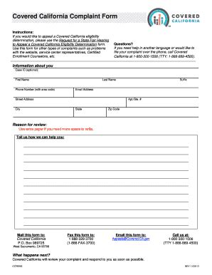 california covered complaint fill  printable