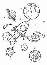 Planets Spaceship Coloring Printable Children Categories Version sketch template