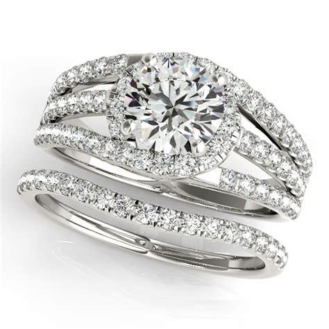triple band diamond engagement ring bridal 14k white gold 2 33ct ng1037