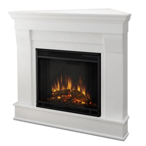 wooden frame mirror chateau corner electric fireplace in white