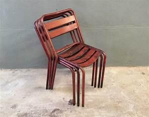 Chaise Bistrot Vintage : ensemble 4 chaises bistrot style tolix ~ Teatrodelosmanantiales.com Idées de Décoration