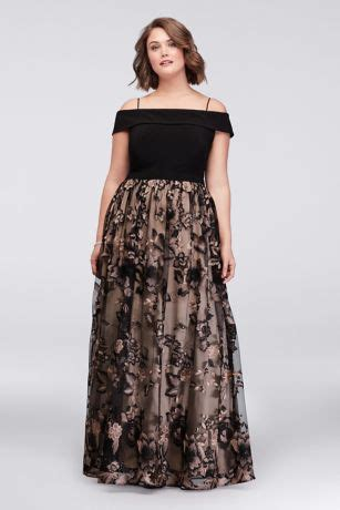 cold shoulder  size ball gown  floral lace david