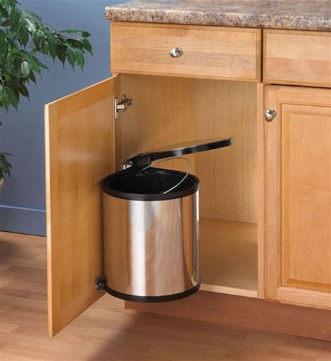 cabinet trash can swing out chrome trash can in cabinet trash cans
