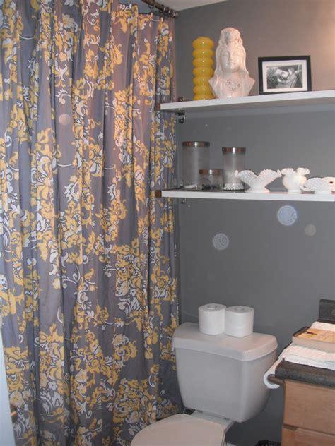 interior design yellow grey shower curtain