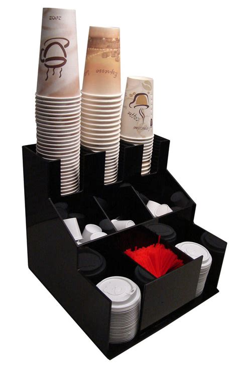 Cup and lid dispenser holder coffee Condiment Caddy Cup Rack beverage Organizer   eBay