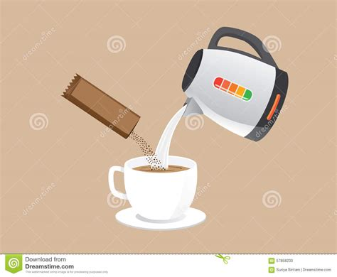 Making Instant Coffee Stock Vector Image