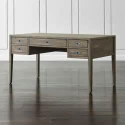 morris 60 quot ash grey desk crate and barrel