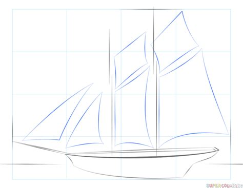 How To Draw A Boat Sailing by How To Draw A Sailing Ship Step By Step Drawing Tutorials