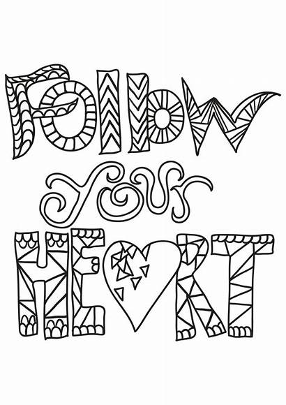 Coloring Quotes Pages Quote Heart Inspirational Follow