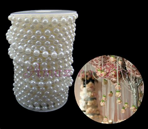 Pearls For Decoration - 20m white 8mm abs plastic faux pearl strands wedding