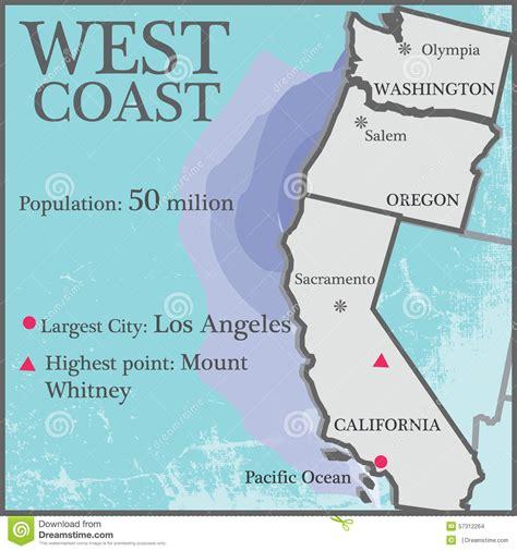 west coast stock vector image of population counties