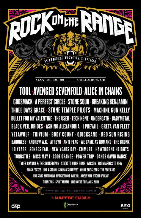 rock on the range rock on the range 2018 lineup tool baroness power trip more