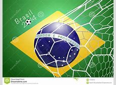 Soccer Ball In Net With Brazil Flag Editorial Photography