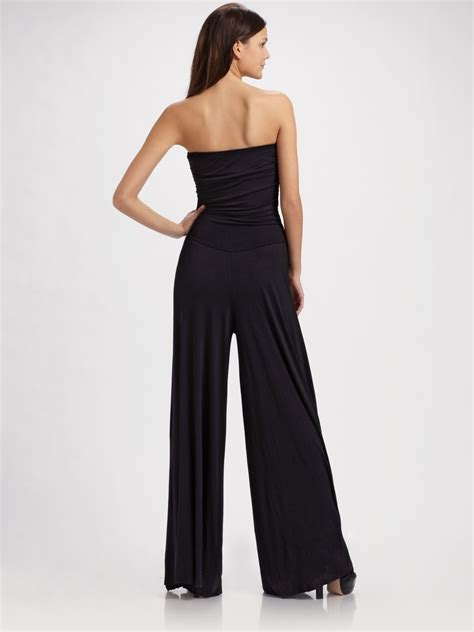 pally jumpsuit pally strapless knit jumpsuit in black lyst