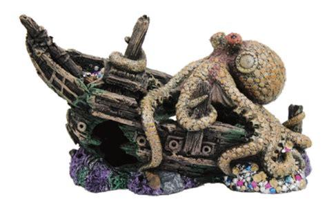 sunken pirate ship  giant octopus fish tank ornament