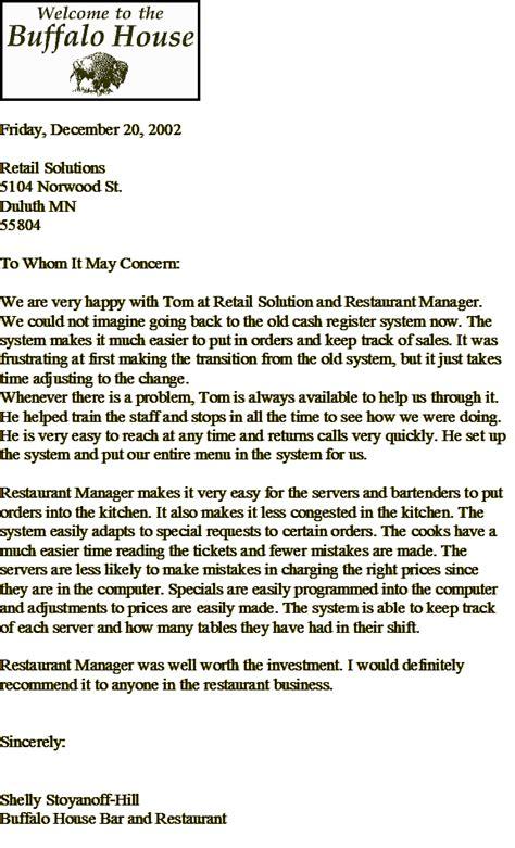 employee recommendation letter   restaurant waitress