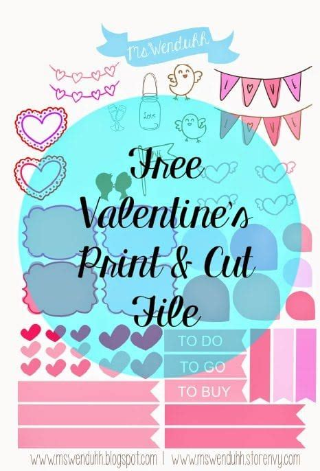 Cute printable vector design template for notebook with positive and inspirational hand collection of weekly or daily planner, note paper, to do list, stickers templates decorated by cute love illustrations and inspirational quote. Free Valentine's Day Print & Cut File | Wendaful Planning