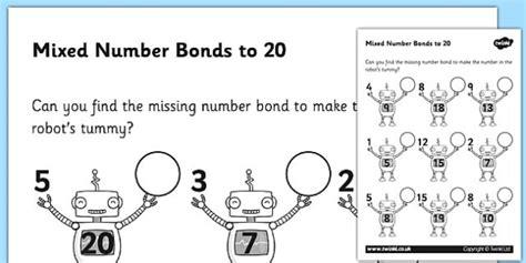 mixed number bonds to 20 on robots worksheet number bonds