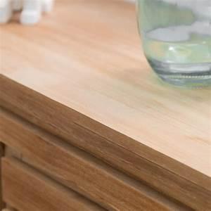 commode de salle de bain en bois de teck massif nature With meuble à langer salle de bain