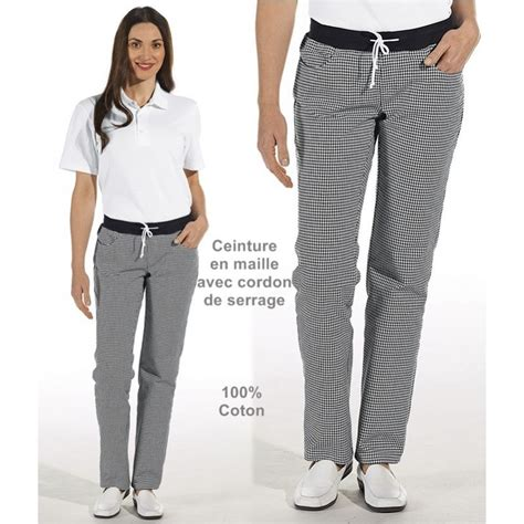 pantalon de cuisine femme ceinture en maille noir et blanc pepita