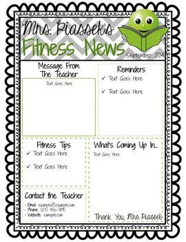 classroom newsletter template editable freebie  phys ed
