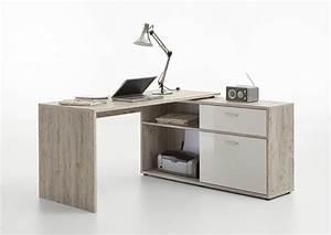 Meuble D Angle Moderne : bureau d 39 angle diego chene blanc brillant ~ Teatrodelosmanantiales.com Idées de Décoration