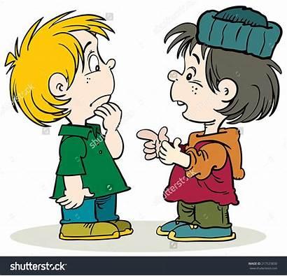 Talking Clipart Cartoon Children Chatting Walking Illustration