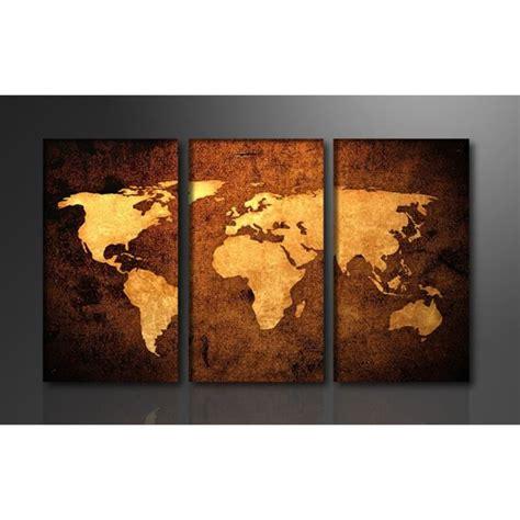 carte du monde cadre tableau triptyque imprim 233 160x90 cm carte monde achat vente tableau toile toile bois