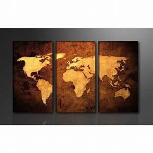 tableau triptyque imprime 160x90 cm carte monde achat With triptyque maison du monde