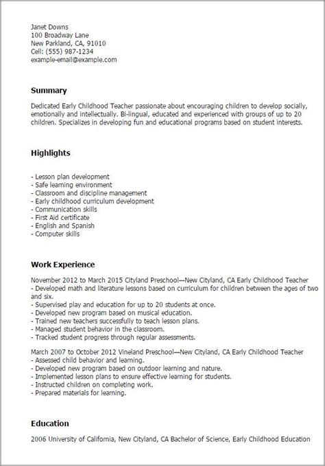 cv templates early childhood teachers childhood early