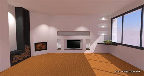 eclairage faux plafond cuisine niches murales design dans le salon eco logis travaux