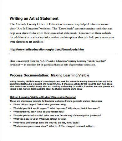artist statement examples    documents
