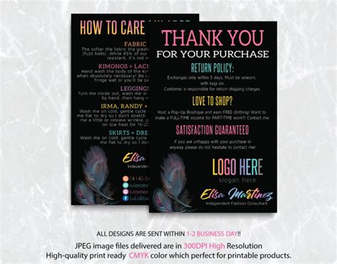 lularoe   cards lularoe care instruction cards
