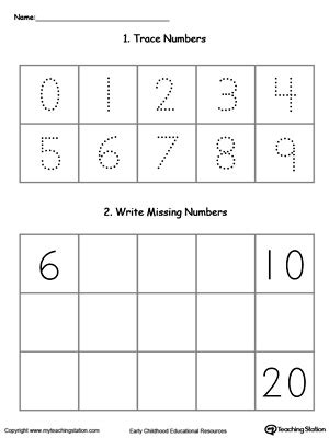 kindergarten writing numbers printable worksheets