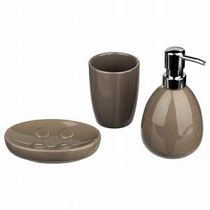 Accessoires Salle Bain Haut Gamme : set de 3 accessoires salle de bain taupe ~ Melissatoandfro.com Idées de Décoration