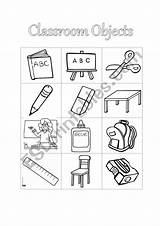Classroom Coloring Object Cut Worksheet Worksheets Esl Vocabulary sketch template