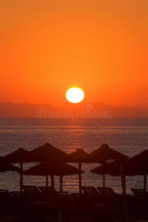 beautiful morning sunrise roquetas del mar spain stock photo