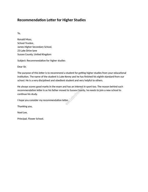 Recommendation Letter for Higher Studies | Reference letter, English letter, English reference