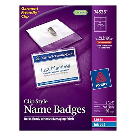 Avery Id Badge Template by Avery Top Loading Garment Friendly Clip Style Name Badges