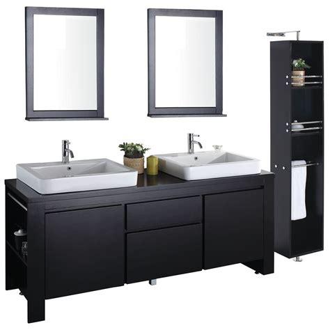 """72"""" Double Sink Bathroom Vanity Solid Dark Wood Vmv12022"""