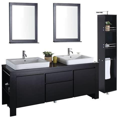 """72"""" Double Sink Bathroom Vanity Solid Dark Wood VM V12022"""
