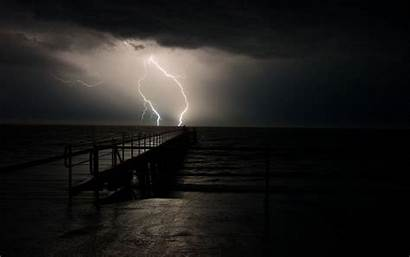 Lightning Storm Ocean Dark Wallpapers Nature Sky